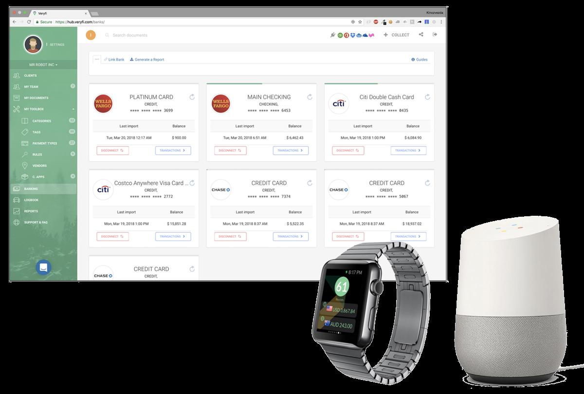 Veryfi also runs on Web, Watch & Google Home