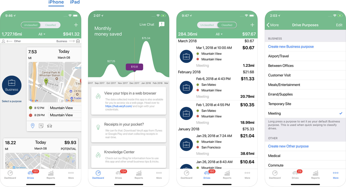 Automatic Tracking in Veryfi's Vehicle mileage logbook tracker app